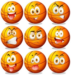 Basketball with facial expressions vector