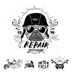 Biker pug dog set of vintage motorcycle emblems vector