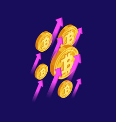 bitcoin and cryptocurrency growth isometric vector image