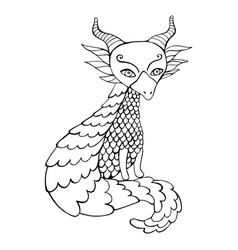 black and white dragon cartoon coloring page vector image