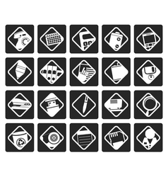 Black office tools icons vector