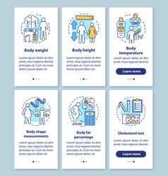 Body health measurement onboarding mobile app vector