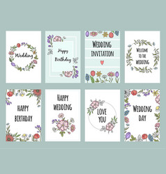 botanic cards with plants design template vector image