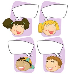 Boys and girls with speech bubble templates vector