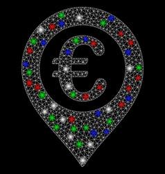 Bright mesh 2d euro pushpin with light spots vector