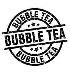 Bubble tea round grunge black stamp vector