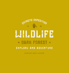 camping typographic emblem with rough texture vector image