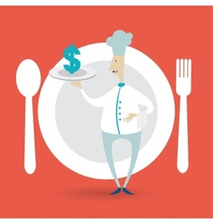 Chef holding a tray icon dollar vector