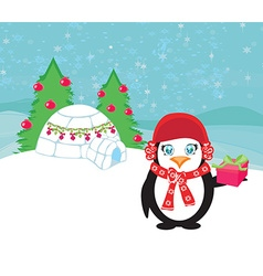 Christmas card with a penguin vector image
