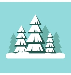 Christmas tree with snow Snowy forest landscape vector image