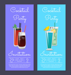 Cocktail party invitation poster with bloody mary vector