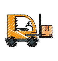 Color crayon stripe cartoon forklift truck with vector