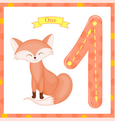 Cute children flashcard number one tracing with 1 vector