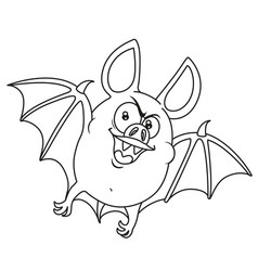 Cute fat halloween bat flying outlined for vector