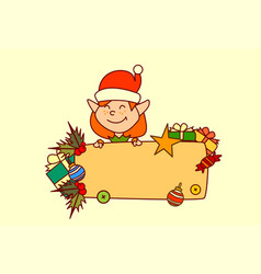 elf hold empty banner merry christmas and happy vector image