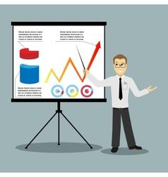 flat design businessman pointing at presentation vector image