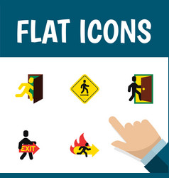Flat icon exit set of evacuation fire exit open vector