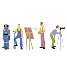 four professions set vector image