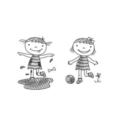 girl jumping in mud girl play with ball vector image