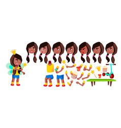 girl kindergarten kid black afro american vector image