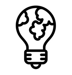 global bulb icon outline style vector image