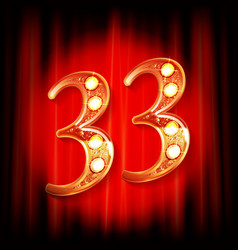 Gold numbers 33 greeting card vector
