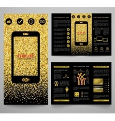 golden elegant business brochure design vector image