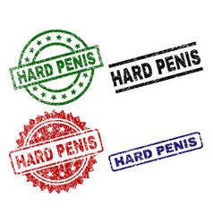 Grunge textured hard penis seal stamps vector