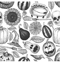 halloween seamless pattern hand drawn design vector image
