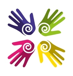 Hands human diversity colors icon vector
