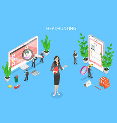 headhunting and recruitment isometric flat vector image