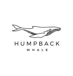 humpback whale outline monoline logo icon vector image