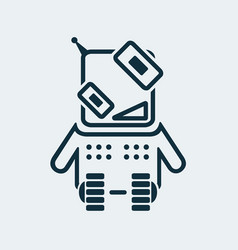icon of a happy robot in a linear style vector image