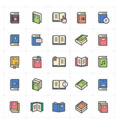 icon set - book full color vector image