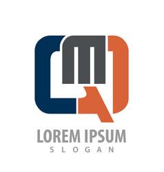 initial letter qm logo concept design symbol vector image