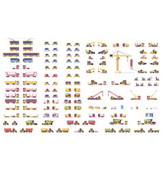 Isometric low poly transport set vector