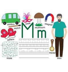 Letter m alphabet english language writing vector