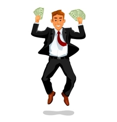 Man lucky growing rich or making money fortune vector image
