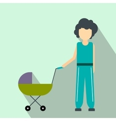 Mother with baby in stroller flat icon vector