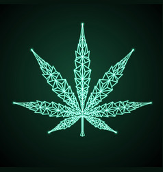 Neon cannabis leaf geomertic sign helm icon vector
