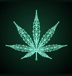 Neon cannabis leaf geometric sign helm icon vector