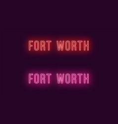 neon name of fort worth city in usa text vector image