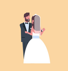 newlyweds just married man woman embracing dancing vector image