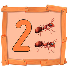 Number two on wooden banner vector
