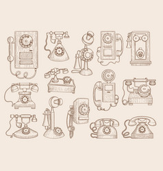 old telephone retro gadgets communication phones vector image