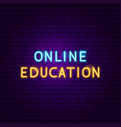 online education text neon label vector image
