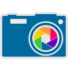 Photo camera icon rainbow lens aperture vector