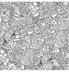 picnic hand drawn doodles seamless pattern bbq vector image