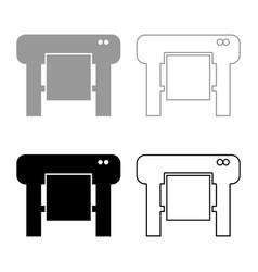 Plotter icon set grey black color vector