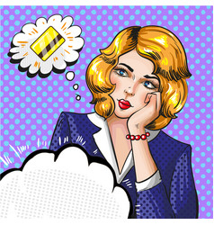 pop art of woman thinking vector image